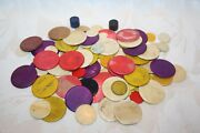 Colourful Antique Bone Games Counters With A Few Plastic And Wood 99 In Total