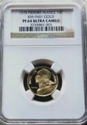 1978 Gold France 139 Minted Piefort Pattern 10 Centimes 13 Gram Ngc Proof 64 Uc