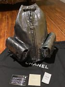 Cc Logo Anthracite Silver Metallic Charcoal Grey Backpack - Size Large