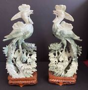 """Pair Of Chinese Green Jade Bird Carvings With Flowers 15.5"""" Tall"""