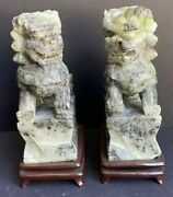 Pair Of Asian Jade Foo Lions On Wooden Base 8.5andrdquo High