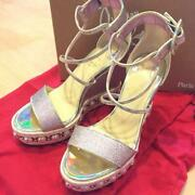 Auth Christian Louboutin Wedges-sole Sandals Eur 37 Pink Never Used W/box Japan