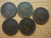 1864x2 1886 1893 1899 '5' Canada Victorian One 1 Cent Coins