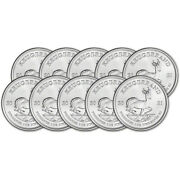 2021 South Africa Silver Krugerrand 1 Oz 1 Rand - Bu Ten 10 Coins