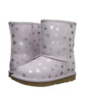Girls Ugg Boots Shoes Uggs Kids Classic Short Ii Stars Lilac Size 6 Us