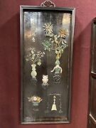 A Pair Of Large Chinese Lacquered Hard Stone Inlaid Wall Panels Shadow Boxes
