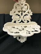 Cast Iron Metal Vintage Wall Shelf Cottage Garden Flower Leaves Shabby Chic Wall