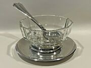 Vintage Gorham Glass And Silver Plated Salad Bowl Set With Base