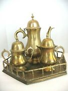 English Inspired Middle Eastern Brass Tea Set With Tray
