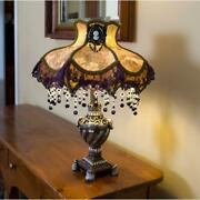 Victorian Style Table Lamp Laced And Beaded Fabric Shade W/cameo Brooch, 22 H