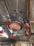 Vintage Wrought Iron Chandelier And Red Blown Glass Art Deco Style Hand Made