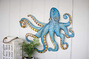 Kalalou Hand Hammered Recycled Metal Octopus Wall Hanging, One Size,