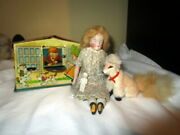 Antique Doll, Bisque Head , Real Fur Dog, Tiny Limach Doll, Tin Savings Bank