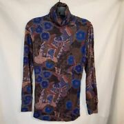 Baandsh Womens Pullover Top Multicolor Floral Long Sleeve Stretch Blouse M New
