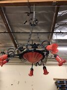 Vintage Wrought Iron Chandelier And Red Glass Shades Art Deco Style Handmade