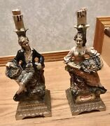 Collectible Pair Of Decanters Andldquovino Rossoandrdquohandpainted In Italy Rare