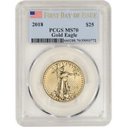 2018 American Gold Eagle 1/2 Oz 25 - Pcgs Ms70 First Day Of Issue Label