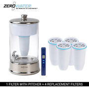 Zero Water 40-cup Portable 2.5 Gallon Glass Dispenser And 4 Replacement Filter Com