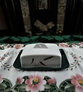 Vintage Bourne Denby Pottery Rectangular Stoneware Beige And Green Butter Dish