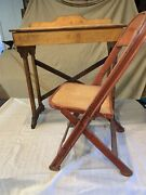Antique Vintage Pine School Desk And Metal Wood Folding Chair Shabby Display
