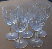 Waterford Crystal Lismore Glass Wine Glasses Goblets Hocks 7 Tall Set Of 5
