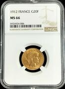1912 Gold France 20 Francs Rooster Coin Ngc Mint State 66