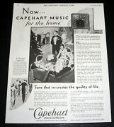 1929 Old Magazine Print Ad, The Capehart Orchestrope Radio, Music For The Home