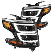 For Chevy Tahoe 2015-2020 Cg Black Led Drl Bar Projector Headlights