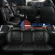 Black Car Seat Covers Cushion Front And Rear Full Surround For 5-seats Car Suv Usa
