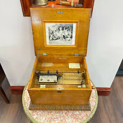 C182 Antique 1900and039s Symphonion Disc Musical Box Working Condition Germany
