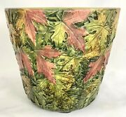 Rare Weller Pottery Flemish Maple Leaves 9 1/2 W/ Red Leaves Jardiniere C1920s