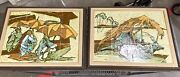Pair Of Mcm Harris Strong Hand Painted Tile Art