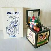 Vintage Wood Music Box Toy Chest Christmas Taiwan 1980and039s Ww3050 New In Box
