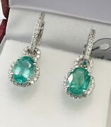 14k White Gold Natural Emerald And Diamond Earring May Birthstone Halo