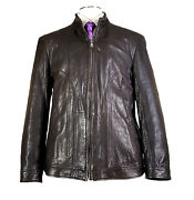 Recent Hugo Boss 44r Motorcycle Soft Lamb Leather Jacket Brown Textured Napino