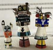 Group 3vintage Kachina Dolls Native American Hand Painted Stamped Hunter Corn +