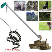 Heavy Duty Snake Tongs+hook Reptile Grabber Catcher Wide Jaw Pick Up Tool Stick