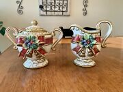 Fitz And Floyd Christmas Deer Sugar Bowl And Creamer With Spoon