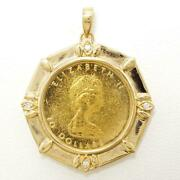 Maple Leaf 1/4oz Coin 24k Gold 18k Pendant Top Diamond Free Shipping Used