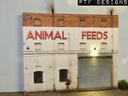N Scale Scratch Built Animal Feeds Building Front/flat W Led, Trackside