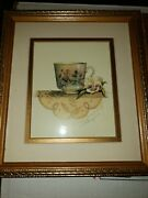 Four Sandy Lynam Clough Signed Matted/framed Tea Cup Art Prints 8x9