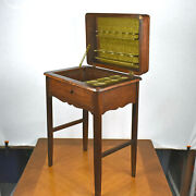 Vintage Antique Wood Sewing Stand Box Thread Cabinet Side Table Lift Up Lid