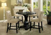 Antique Black Round Table Button Tufted Beige Chair Counter Height Dining Set