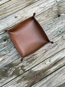 Deluxe Genuine Leather Valet Tray 8x8 Horween Free Key Fob Usa Double Sided