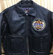 Vintage Mickey Mouse Leather Jacket Motor Rally Mens Size Xl Black Disney Store