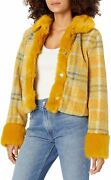 Kendall + Kylie Womenand039s Cropped Mix Faux Fur Jacket