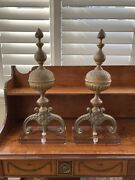 Pair 19th Century French Baroque Bronze Chenets / Andirons On Stands Custom
