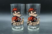 Vintage Dudley Do-right Pepsi Collector Series Glass Rocky And Bullwinkle Set Of 2