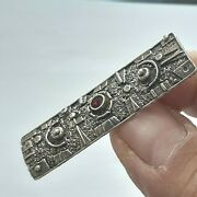 Vintage Fine Israeli/sterling Silver 925/jewelry Pin Brooch And Red Bead Old 8.6g