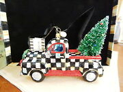 Mackenzie Childs Courtly Check Truck Christmas Tree Ornament Glass - New / Box
